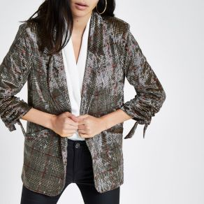 River Island Brown Velvet Check Ruched Sleeve Blazer, €87