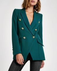 River Island Green Double Breasted Tux Jacket, €95