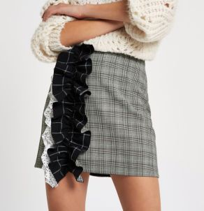River Island Grey Check Print Ruffle Mini Skirt, €45