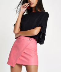 River Island Pink Faux Leather Wrap Front Skort, €18 (on sale)