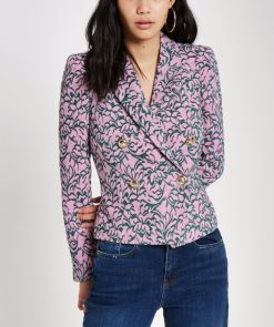 River Island Pink Jacquard Double-Breasted Fitted Jacket, €100