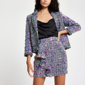 River Island Purple Sequin Boucle Ruffle Mini Skirt, €55