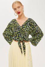 Topshop Leopard Print Tie Front Blouse, €40