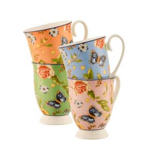 Aynsley China Cottage Garden Footed Mugs Set of 4, €30