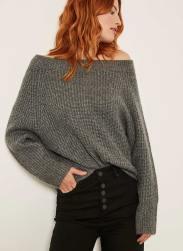 Mint Velvet Granite Fluffy Bardot Knit, €99