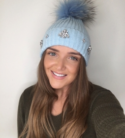 Glitz N Pieces Pom Pom Hat with Embellishment Baby Blue, €30
