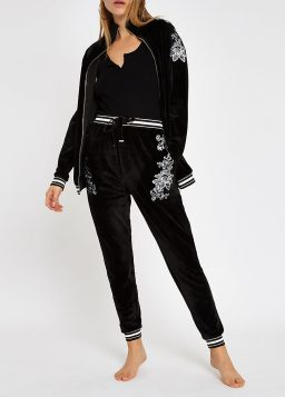 River Island, Floral Embroidered Loungewear Jacket & Joggers Co-ords, from €33