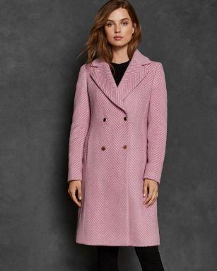 Ted Baker Saffra Chevron Wool Midi Coat, €465 http://bit.ly/2TivHW6