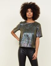 New Look Black Iridescent Sequin Tie Back T-Shirt, €44.99 http://bit.ly/2QA6E2h
