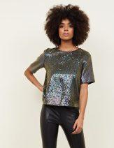 New Look Black Iridescent Sequin Tie Back T-Shirt, €44.99 http://bit.ly/2QA6E2h