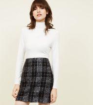 New Look Black Metallic Check Bouclé Check Mini Skirt, €29.99 http://bit.ly/2QuUHeq