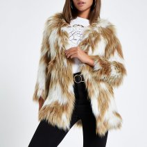 River Island Light Brown Knitted Faux Fur Coat, €120 http://bit.ly/2Qwo4wM