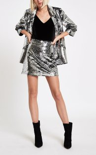 River Island Silver Sequin Embellished Mini Skirt, €50 http://bit.ly/2rkMQl6
