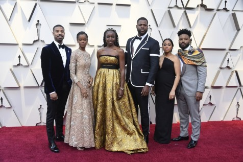 Michael B. Jordan, Letitia Wright, Danai Gurira & Winston Duke and guests - cast of Black Panther