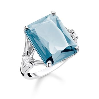 Thomas Sabo Large Blue Stone Ring in Sterling Silver Blackened, €129 http://bit.ly/2zkz6e9