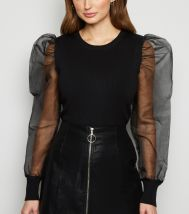 Blue Vanilla Black Puff Organza Sleeve Jumper, €34.99 http://bit.ly/2Or2eb4