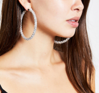 River Island Silver Colour Diamante Hoop Earrings, €13 http://bit.ly/34SRKb7