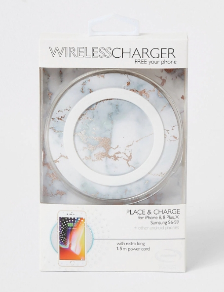 River Island White Marble Wireless Charger, €13.99 http://bit.ly/34gEc9g