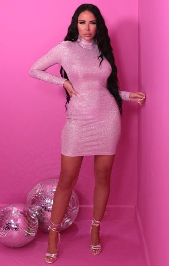 Femme Luxe Aubrey Pink Glitter Sparkly High Neck Bodycon Mini Dress, €45.95 https://femmeluxefinery.co.uk/products/pink-glitter-sparkly-high-neck-bodycon-mini-dress-aubrey