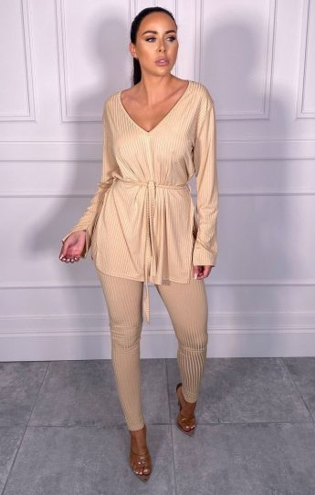 Femme Luxe Asia Stone Ribbed Belted Loungewear Set, €48.95 https://femmeluxefinery.co.uk/products/stone-ribbed-belted-loungewear-set-asia