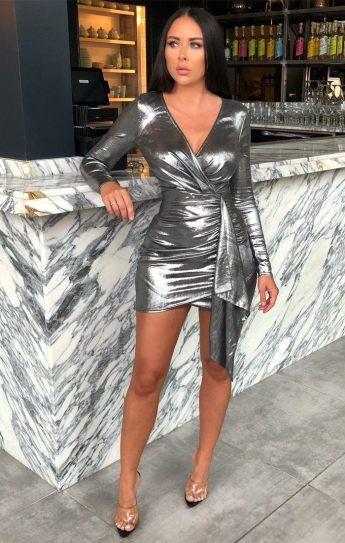 Femme Luxe Meela Silver Metallic Bodycon Side Detail Mini Dress, €45.95 https://femmeluxefinery.co.uk/products/silver-metallic-bodycon-side-detail-mini-dress-meela