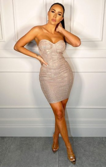 Femme Luxury Grace Nude Sparkly Corset Mini Dress, €43.95 https://femmeluxefinery.co.uk/products/nude-sparkly-corset-mini-dress-grace