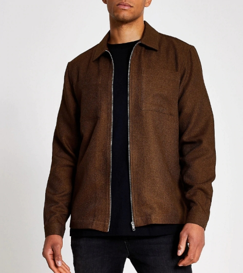 River Island Rust Textured Zip Through Regular Fit Shirt, €47 http://bit.ly/2OWmrpn