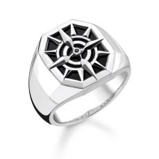 Thomas Sabo Black Compass Signet Ring with Onyx, €149 http://bit.ly/2qhH5I7