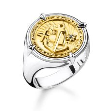 Thomas Sabo Faith, Love, Hope Signet Ring with 18k Yellow Gold, €179 http://bit.ly/3839N0l