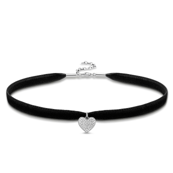 Thomas Sabo Pavé Heart Velvet Choker Necklace, €113 http://bit.ly/2LehtmX
