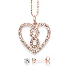 Thomas Sabo Pavé Infinity Heart Necklace and Filigree Ear Studs in 18k Rose Gold Set, €237 http://bit.ly/33QghN7