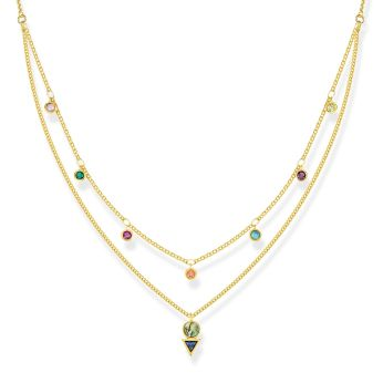 Thomas Sabo Tropical Colours Double Layer Colourful Stones Necklace in 18k Yellow Gold, €259 http://bit.ly/2RgguGv