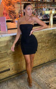 Femme Luxe Betsy Black Slinky Strapless Bodycon Mini Dress, €28.95 https://femmeluxefinery.co.uk/products/black-slinky-strapless-bodycon-mini-dress-betsy