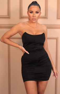 Femme Luxe Emma Black Slinky Ruched Side Strapless Mini Dress, €36.95 https://femmeluxefinery.co.uk/products/black-slinky-ruched-side-strapless-mini-dress-emma