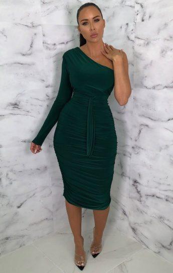 Femme Luxe Savannah Emerald One Shoulder Ruched Slinky Midi Dress, €45.95 https://femmeluxefinery.co.uk/products/emerald-one-shoulder-ruched-slinky-midi-dress-savannah