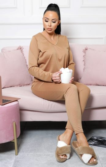 Femme Luxe Acadia Camel Long Sleeve V Neck Leggings Loungewear Set, €48.95 https://femmeluxefinery.co.uk/products/camel-long-sleeve-v-neck-leggings-loungewear-set-acadia