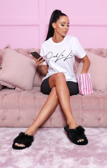 Femme Luxe Addison Ooh La La Oversized T-Shirt, €19.95 https://femmeluxefinery.co.uk/products/white-ohh-la-la-slogan-print-t-shirt-addison