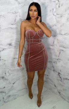Femme Luxe Andre Pink Velvet Diamante Corset Bodycon Mini Dress, €41.95 https://femmeluxefinery.co.uk/products/nude-sparkly-corset-mini-dress-grace