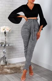 Femme Luxe Houndstooth Paper Bag Slim Fit Trousers, €37.95 https://femmeluxefinery.co.uk/products/houndstooth-paper-bag-slim-fit-trousers