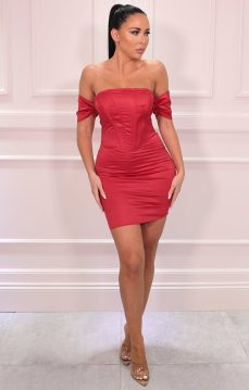 Femme Luxe Jade Red Corset Satin Bardot Bodycon Mini Dress, €48.95 https://femmeluxefinery.co.uk/products/red-corset-satin-bardot-bodycon-mini-dress-jade