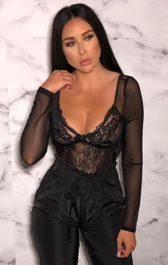 Femme Luxe Molly Black Lace Long Sleeve Plunge Bodysuit, €32.95 https://femmeluxefinery.co.uk/products/black-lace-long-sleeve-plunge-bodysuit-molly