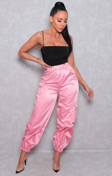 Femme Luxe Tina Pink Utility Elasticated Cuffed Joggers, €35.95 https://femmeluxefinery.co.uk/products/pink-utility-elasticated-cuffed-joggers-tina
