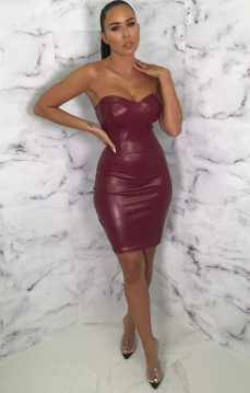 Femme Luxe Verona Wine PU Cupped Corset Bodycon Mini Dress, €44.95 https://femmeluxefinery.co.uk/products/wine-pu-cupped-corset-bodycon-mini-dress-verona