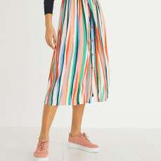 Oliver Bonas Paintbrush Stripe Belted Midi Skirt, €72 https://bit.ly/2ScuC37