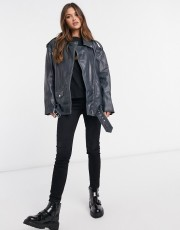 ASOS DESIGN Oversized Washed Leather Biker Jacket in Black, €235.99 https://bit.ly/3bmgCfy