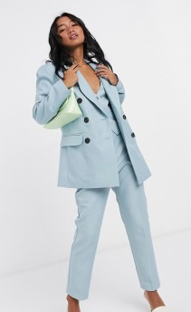 ASOS DESIGN Petite 3 Piece Dad Suit in Chalky Blue, from €39.99 https://bit.ly/2YYC6u4
