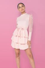 Dresses.ie Tiffany Polka Dot Mesh Sleeve High Neck Tiered Mini Dress, €34 https://bit.ly/3jD6QbV