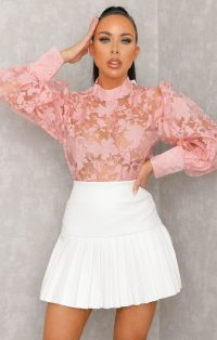 Femme Luxe Sam Pink Lace Floral High Neck Cuffed Mesh Organza Top, €19 (was €53.80) https://bit.ly/3lNvOHy