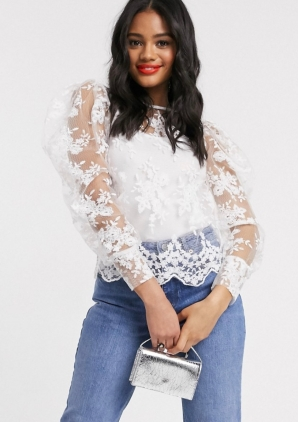 Lipsy Lace Puff Sleeve Blouse with Tie Bow Neck Detail, €48.99 https://bit.ly/30k3zXT