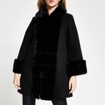 River Island Black Faux Fur Panelled Swing Coat, €100 https://bit.ly/34Sn1y2